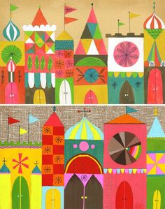 Colorful town by Lisa Congdon