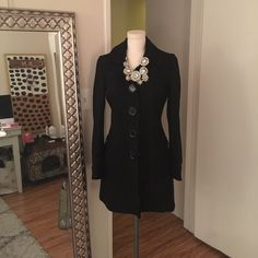 Gorgeous Long Black Coat Black Coat from Nordstrom. Cute polka dot lining and big buttons. Perfect for the winter! Tulle Jackets & Coats Pea Coats