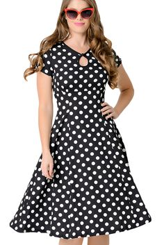Buy Black & White Dotted Cap Sleeve Swing Dress in Cyberjaya,Malaysia. Detail Does it make you swoon, darling? A inspired dress complete in a breezy swing silhouette and patterned in a radiant black/white polka dot print set Chat to Buy Vintage Dresses Online, Dress Vintage, Cheap Dresses, Casual Dresses, Midi Dresses, H&r London, Pin Up, Short Sleeve Dresses, Maxi Dresses