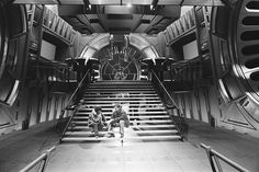 "George Lucas and Richard Marquand on the Emperor's throne room set at Elstree during principal photography. | Check Out These Unseen Pictures From The Set Of ""Return Of The Jedi"""