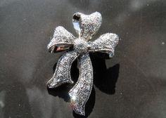 Rhinestone Ribbon Bow Brooch Diamond Look by veryfrenchbydesign, $39.00