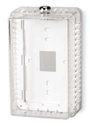 Industrial Grade 2E379 Guard, Thermostat, Clear by Unknown. $21.01. Universal Thermostat Guard, Inside Height 6 13/16 In, Inside Depth 3 In, Inside Width 4 In, Outside Depth 3  6/16 In, Outside Height 7 13/16 In, Outside Width 5 In, Finish Box Clear, Base and Ring Beige, Material High Impact Plastic, Not Hinged, Mount Horizontal or Vertical, Includes Box, Solid and Ring Base, Mounting Hardware, 1 Key