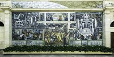 Diego Rivera's Detroit Industry 1 - in 1932 ~ 33, Mexican artist Diego Rivera was commissioned by Edsel Ford to paint murals in the Detroit Institute of Arts on Woodward Ave. He chose to depict the scene of Detroit's advancing industrial growth, and the increase of technology. Some years back the art was placed on the national historic registry.