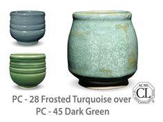AMACO Potter's Choice layered glazes PC - 45 Dark Green and PC - 27 Tourmaline.