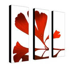 """Trademark Global Ginko Drops by Philippe Sainte-Laudy, Canvas Art (A 3 Piece Set) -24"""" x 8"""" x 2"""" $159.99"""