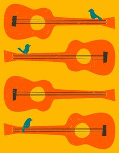 Cool Poster BIRDS ON A GUITAR STRING von Jazzberry Blue more posters at http