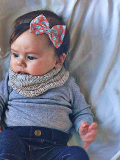 LOVE ♥ ♥ ♥ hairbow headband, scarf, gray onesie, jeggings - sweet baby girl