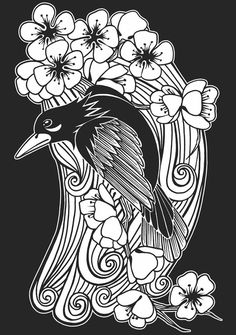 Welcome to Dover Publications / Japanese Tattoo Art Stained Glass Coloring Book / Jeremy Elder Silhouette Stencil, Coloring Pictures, Art Tattoo, Art Stained, Japanese Tattoo Art, Art, Japanese Tattoo, Color, Bird Art