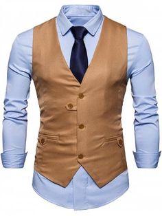 FUMUD 2018 New Fashion Men's Color Suit Gentleman Dress Casual Vest Jacket Business Vest Chalecos Para Hombre Men Groom Vest Ropa Semi Formal, Men's Waistcoat, Vest Outfits, Look Cool, Men Fashion, Cheap Fashion, Fashion Online, Fashion Blogs, Fashion Stores