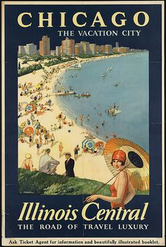 Chicago travel poster for the Illinois Central Railroad Company, illustrated by Paul Proehl.