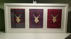 Check out this item in my Etsy shop https://www.etsy.com/uk/listing/270712677/3-framed-stag-heads-with-harris-tweed