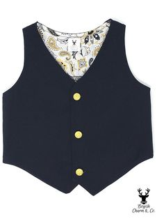Boys Black Formal Wear Vest With Gold Buttons Toddler Boy