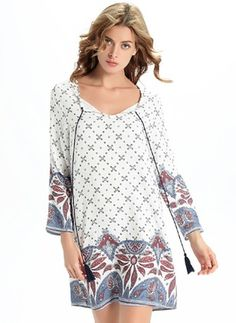 Linen Floral Long Sleeve Above Knee Casual Dresses