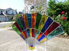 Stained Glass Suncatcher Fan 16X12 by JuneArt on Etsy, $89.00