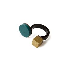 Wolf and Moon Cube Circle Ring: This geometric ring consists of a painted wood circle and brass cube set on an open acrylic band. It's minimal design makes a versatile and sophisticated piece with a playful edge, perfect for adding a little colour to your paired down look or to compliment your evening outfit.