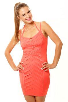 Crossover Body Con Dress - Coral