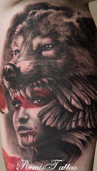 Wolf headdress tattoo girl. Love it