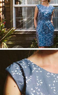 Little bird print pocket-dress - betabrand