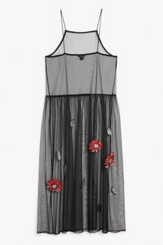 Monki Image 2 of Long mesh slip dress in Black