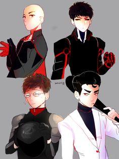 Saitama, Genos, Licenseless Rider and Metal Bat from One Punch Man.