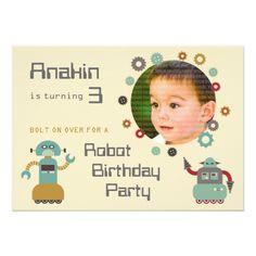 Robot Birthday Invitations Retro Robot Party Birthday Photo Invitation