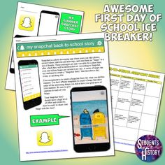 Back to school Snapchat project! This fun activity combines the app almost all of our students are obsessed with - Snapchat - with a great Back to School or first day of school activity to help you get to know your students and them to get to know each other!