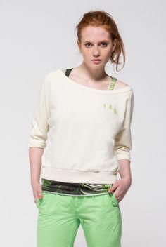 Women's 3/4 sleeve sweatshirt with sleeveless top.