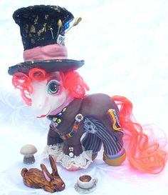 Tim Burton/Johnny Depp-style Mad Hatter custom My Little Pony by Maria Maya.