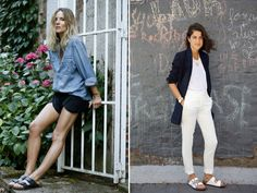 To Birkenstock or not to Birkenstock? Whether 'tis nobler in the mind to reject the slipper, or to take arms against the naysayers and wear the double strapped Arizona Birkenstock… Estilo Birkenstock, Black Birkenstock, Birkenstock Outfit, Spring Fashion Trends, Street Style Summer, White Denim, Get Dressed, 90s Fashion, Everyday Fashion