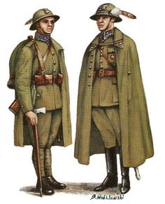 1936 Polish Army Podhale Rifles enlisted soldiers' (left) and officers' (right) service dress uniform. Interwar Period, Military Drawings, Central And Eastern Europe, Military Jacket, Military Uniforms, Military History, Armed Forces, World War Two, Troops