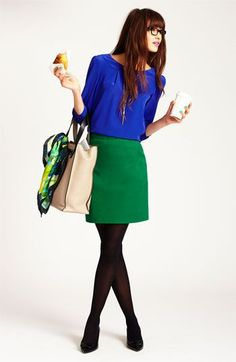 "Kate Spade New York- cobalt blue ""bridgette"" blouse & emerald green ""valentine"" skirt. Colorful! (Worn with 'west chelsea - alissa' shopper.)"