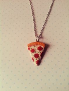 Pizza necklace polymer clay by FlowerChildCharms on Etsy DISCOUN TIME use this code at checkout