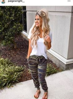 best trending casual summer outfits 49 is part of Athleisure outfits - best trending casual summer outfits 49 Legging Outfits, Jogger Outfit, Athleisure Outfits, Camo Leggings Outfit, Summer Leggings Outfits, Women Joggers Outfit, Outfits With Camo Pants, Pant Romper Outfit, Old Navy Outfits