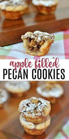 Bite sized Apple Pecan cups filled with apples, pecans and gooey caramelized glaze. Sprinkle with powdered sugar and enjoy this delicious fall treat! A cream cheese cookie crust surrounds the gooey apple filling that's sweetened with brown sugar and almost overflowing with crunchy pecans. Best Cookie Recipes, Best Dessert Recipes, Apple Recipes, Fun Desserts, Pecan Cookies, Types Of Bread, Cream Cheese Cookies, Apple Filling, Cookie Crust