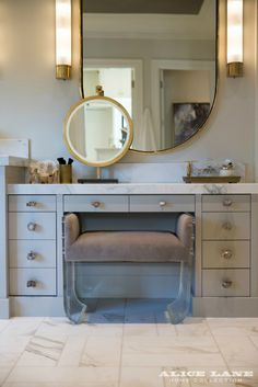 Glam set up in the master bath anyone? French Moderne Manor - Alice Lane Home Interior Design Residential Interior Design, Luxury Interior Design, Interior Decorating, Decorating Ideas, Alice Lane Home, French Interior, Interior Modern, Decoration Design, Interiores Design