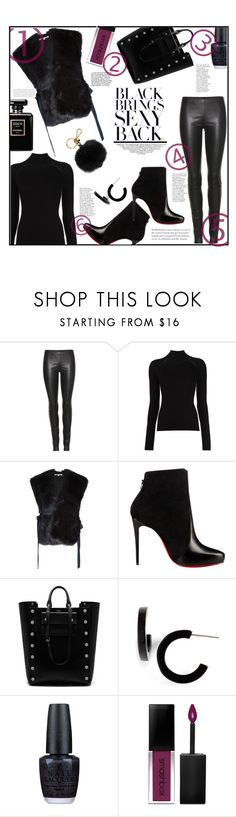 """BLACK on BLACK"" by jckallan ❤ liked on Polyvore featuring The Row, Misha Nonoo, Helmut Lang, Christian Louboutin, Mulberry, L. Erickson, OPI, Smashbox, MICHAEL Michael Kors and contestentry"