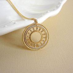 Sun medallion necklace  filigree pendant charm by peppermintfix, $25.00