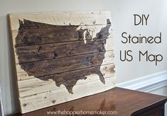 wood art wall map stained stain us united states
