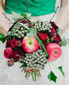 "Apples on your wedding bouquet? Why not. This takes the word ""unconventional"" into a whole new level. Very sophisticated and gorgeous."