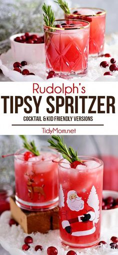 If you're looking for a festive holiday cocktail or a change of pace from the usual Cosmo look no further! RUDOLPH'S TIPSY SPRITZER features the perfect balance of flavors that goes beyond a simple mix of vodka and cran. This easy spritzer makes a party-perfect punch that can easily be made kid-friendly by omitting the vodka. Print the full recipe at TidyMom.net #cocktails #cranberry #vodka #cocktailrecipes #drinks #kidfriendly #mocktails #shirleytemple