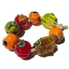 Lampwork Glass Pumpkin Beads s/8 SRA orange ochre mango yellow amber gold