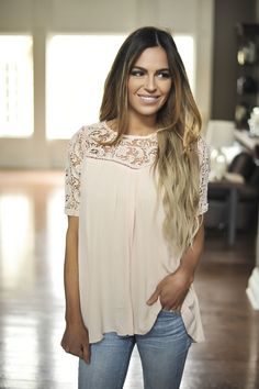 Crochet Cross Back Top- Blush - Dottie Couture Boutique