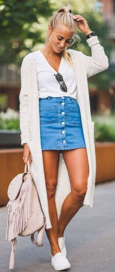 5 Tips For How To Wear A Denim Skirt: denim skirt and sweater