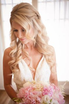 wedding hair- i like the half up/half down