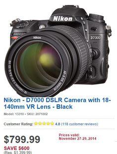 Nikon - D7000 DSLR Camera with 18-140mm VR Lens - Black from Best Buy $799.99