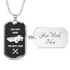 This is a unique gift can be personalized and is perfect to help celebrate that super cool car dad in your life. The dog tag comes in gold and silver and prices start at $39.95.#specialcardadgift #cardadgift #cooldadgift Personalized Dog Tags, Personalized Necklace, Unique Gifts, Best Gifts, Love Lily, Glass Coating, Best Dad, Custom Engraving, Gifts For Dad