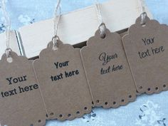 Personalised Custom Gift / Price Tags Label Kraft Brown Paper Party