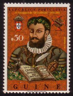 """1972 stamp celebrating the fourth centenary of the literary work """"Os Lusíadas"""" by Luís de Camões"""