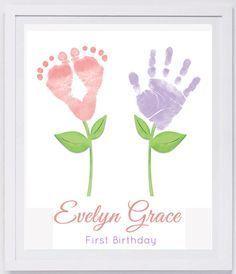 Baby Footprint Art Forever Prints hand and footprint keepsake for kids or baby. Mothers Day New Mom Nursery Art Baby In loving memory