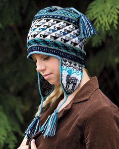 Andean Chullo by Kerin Dimeler-Laurence. Shown in Knit Picks Palette White, Silver, Marble Heather, Ash, Asphalt Heather, Black, Delta, Cyan, and Sky.